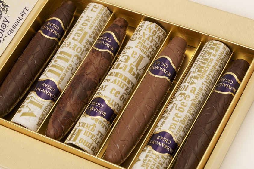 Open box of chocolate cigars