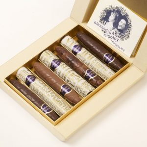 box of chocolate cigars open